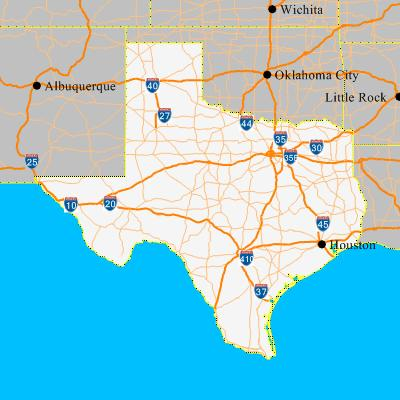 map of texas state. Click on the state map to zoom